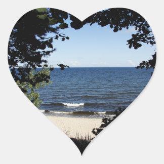 Beach cove heart sticker