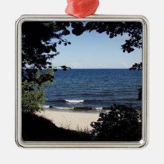 Beach cove metal ornament