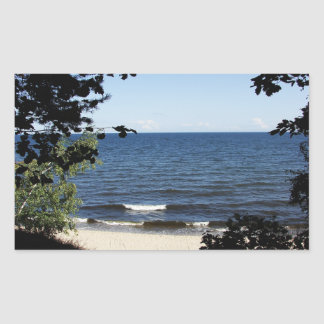 Beach cove rectangular sticker