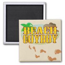 Beach Cowboy Sandy Footprints Magnet