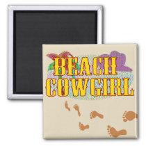 Beach Cowgirl Sandy Footprints Magnet