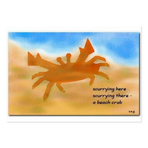 Beach Crab Haiku Art ACEO Trading Card #1 Large Business Cards (Pack Of 100)