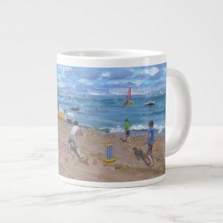 Beach cricket Abersoch 2013 Large Coffee Mug