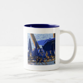 Beach Crowd by Leslie Peppers Two-Tone Coffee Mug