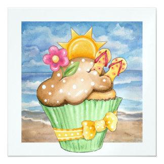 Beach Cupcake ! - SRF 5.25x5.25 Square Paper Invitation Card