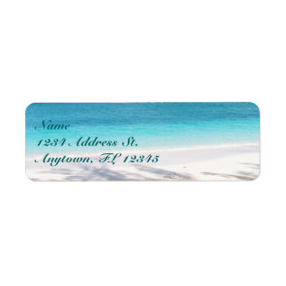 Beach custom return address labels at Zazzle