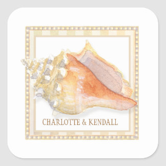 Beach Damask Conch Shell Wedding Envelope Seals