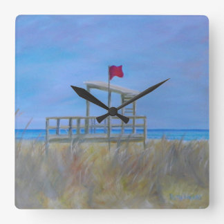 BEACH DAY by Patty Weeks Square Wall Clock