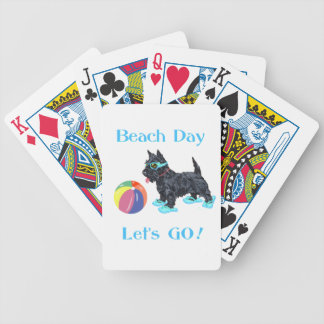 Beach Day Scottie Dog Bicycle Playing Cards