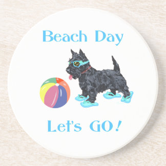 Beach Day Scottie Dog Drink Coasters