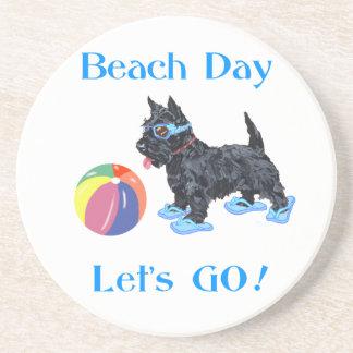 Beach Day Scottie Dog Coaster