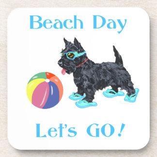 Beach Day Scottie Dog Beverage Coasters