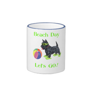Beach Day Scottie Dog Ringer Mug