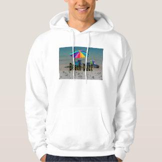 beach daze colorful umbrella beach ocean view hoodie