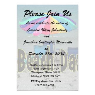 """beach daze colorful umbrella beach ocean view 5"""" x 7"""" invitation card"""