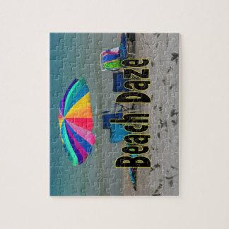 beach daze colorful umbrella beach ocean view jigsaw puzzle