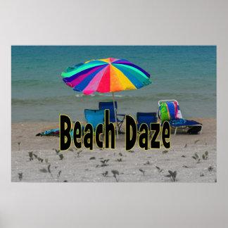 beach daze colorful umbrella beach ocean view poster