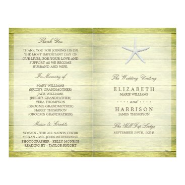 Beach Themed Beach Deck Starfish Wedding Bi-fold Program Flyer