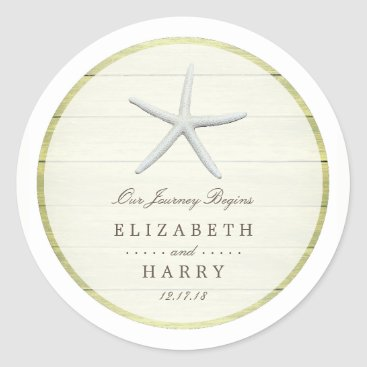 Beach Themed Beach Deck Starfish Wedding Classic Round Sticker