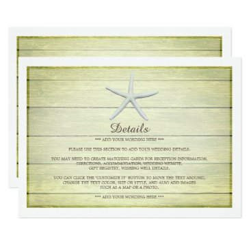 Beach Themed Beach Deck Starfish Wedding Detail Card