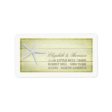Beach Themed Beach Deck Starfish Wedding Label