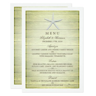 Beach Themed Beach Deck Starfish Wedding Menu Card