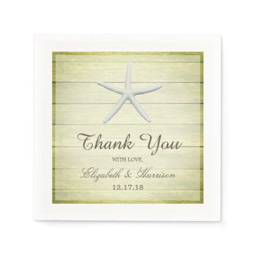 Beach Themed Beach Deck Starfish Wedding Paper Napkin