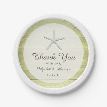 Beach Themed Beach Deck Starfish Wedding Paper Plate