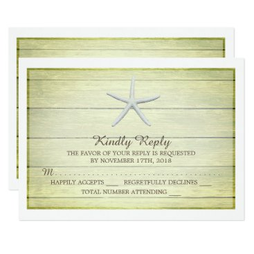 Beach Themed Beach Deck Starfish Wedding RSVP Card