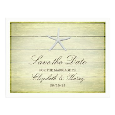 Beach Themed Beach Deck Starfish Wedding Save The Date Postcard