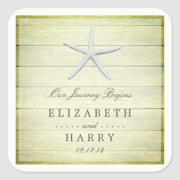 Beach Themed Beach Deck Starfish Wedding Square Sticker