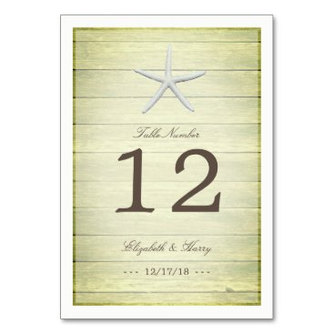 Beach Themed Beach Deck Starfish Wedding Table Number Card