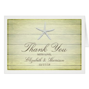 Beach Themed Beach Deck Starfish Wedding Thank You Card