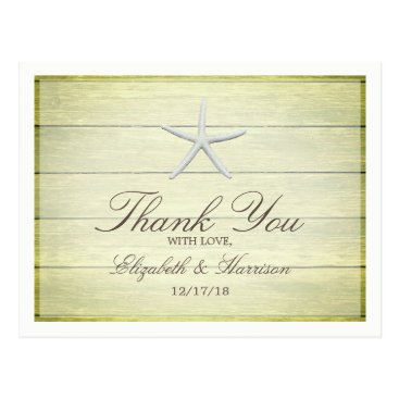 Beach Themed Beach Deck Starfish Wedding Thank You Postcard