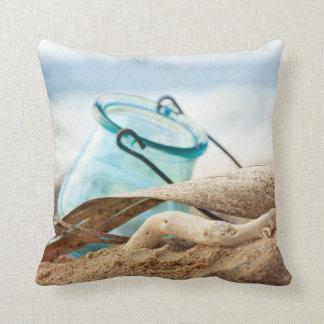 Beach decor blue jar throw pillow