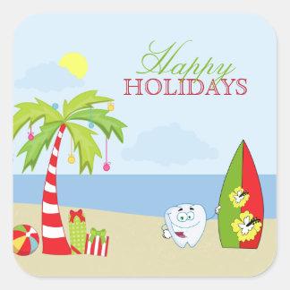 Beach dentist tooth Happy Holidays sticker