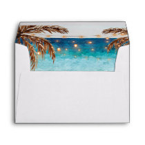 beach design with palm trees lined envelopes