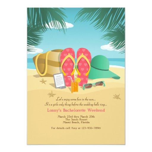 Beach destination bachelorette party invitations zazzle for Fun bachelorette party destinations