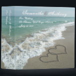 "Beach Destination or Cruise Wedding Album Planner Binder<br><div class=""desc"">Hearts drawn in the sand,  beach destination wedding planner or photo album binder.  Matching wedding items also available</div>"