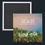 """Beach Destination Photo Wedding Thank You Favor Magnet<br><div class=""""desc"""">Thank you favor magnets for your beach wedding that can be customized with your photo. Choose a photo of the wedding location or one of you and your fiance. Customize with your names,  wedding date and the destination of your wedding.</div>"""