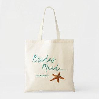 Beach destination starfish wedding bridesmaid tote bag