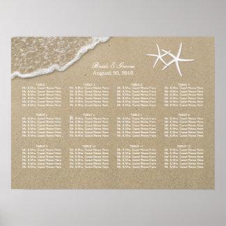 Beach Destination Starfish Wedding Seating Chart Poster