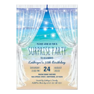 special_stationery Beach Destination Surprise Birthday Party Card