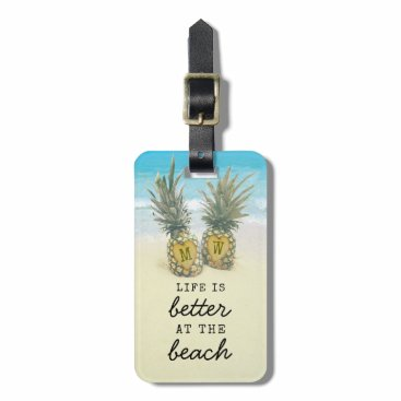 Beach Themed Beach Destination Tropical Pineapple Bag Attention Luggage Tag