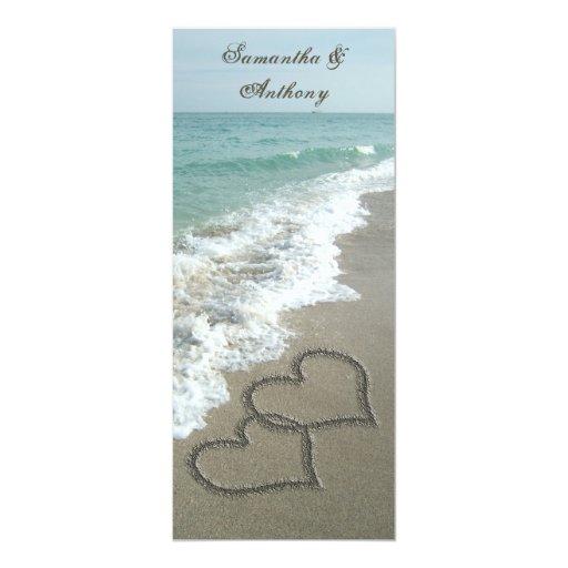 "Beach Destination Wedding Invitation, 2 Hearts 4"" X 9.25"" Invitation Card"