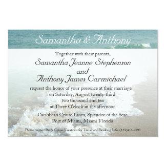 "Beach Destination Wedding Invitation, Aqua Surf 5"" X 7"" Invitation Card"