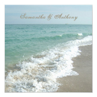 Beach Destination Wedding Invitation, Square Card