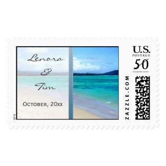 Beach Destination Wedding PostageTemplate Postage