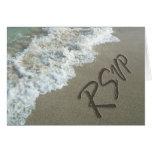 Beach Destination Wedding Sand Writing RSVP Cards