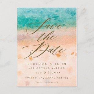 beach destination wedding save the date card